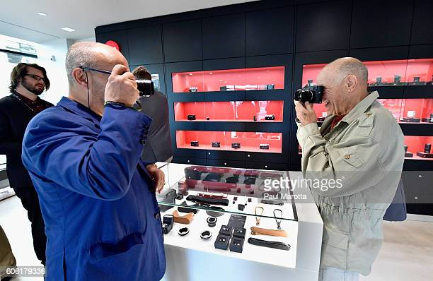 Photographer Constantine Manos and Leica Managing Director Dr Andreas Kaufmann discuss Leica cameras at the new 3000 square foot Leica Camera Store...