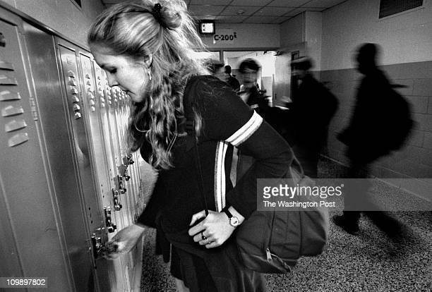 Craig Herndon twp caption info Arundel HS student Jennifer McCClurg interviewed for crowding story at her locker during break between classes