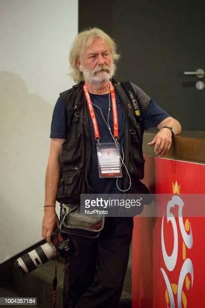 AP photographer Czarek Sokolowski during a press conference at National Stadium in Warsaw Poland on 23 July 2018 Jerzy Brzeczek a former captain of...