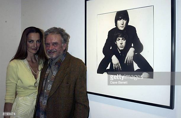 Photographer David Bailey and wife Catherine attend David's Platinum Exhibition of his Dom Perignon collection on November 19th 2002 at Hamiltons...