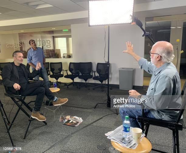 Photographer David Hume Kennerly is interviewed by Director of Archive Bob Ahern at Getty Images Los Angeles Office on October 24, 2018.