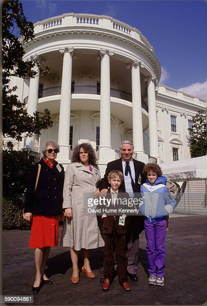 Photographer David Hume Kennerly's family at the White House circa 1981 in Washington DC From left to right are his mother Joanne Hume Kennerly...