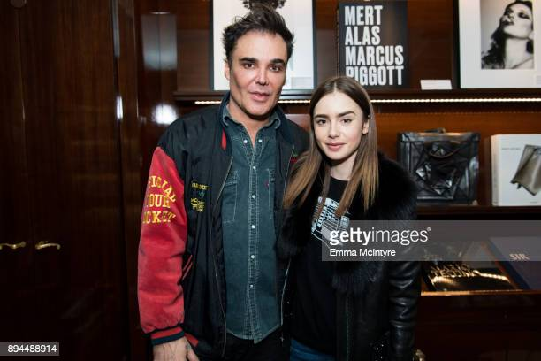 Photographer David LaChapelle and actress Lily Collins attend the David LaChapelle book signing at TASCHEN Store Beverly Hills on December 17 2017 in...