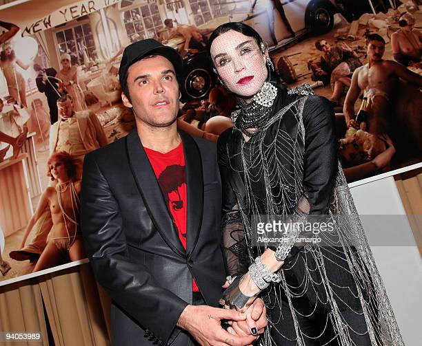 """Photographer David LaChapelle and Daphne Guinness attend a press conference for Maybach presents David LaChapelle's """"Bliss Amongst Chaos"""" at the..."""