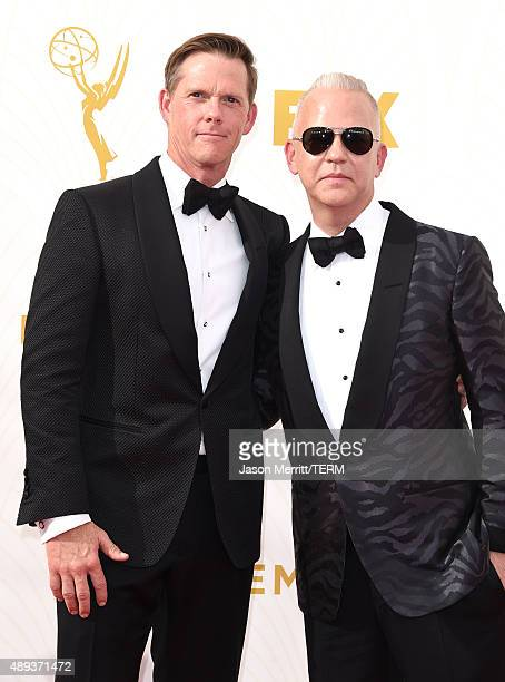 Photographer David Miller and producer Ryan Murphy attend the 67th Annual Primetime Emmy Awards at Microsoft Theater on September 20 2015 in Los...