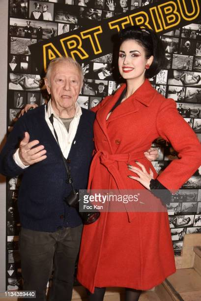 Photographer /designer Maurice Renoma and model Elsa Oesinger attend Maurice Renoma Tribute to Street Art Preview at Espace Bernard Palissy on March...