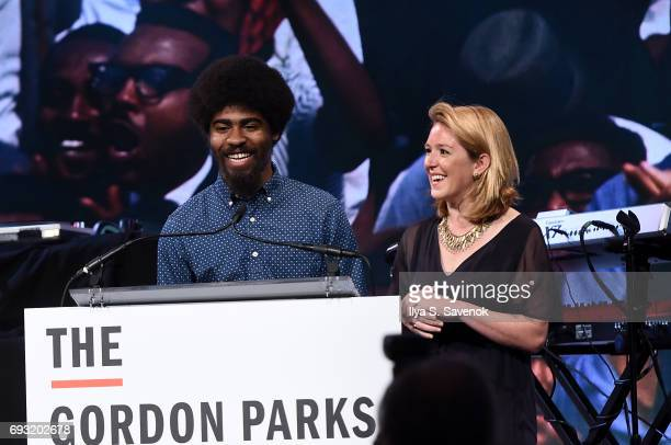 Photographer Devin Allen and journalist Harriet Dedman speak during 2017 Gordon Parks Foundation Awards Gala at Cipriani 42nd Street on June 6 2017...