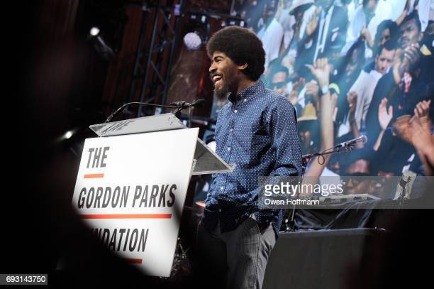 Photographer Devin Allen speaks onstage during the Gordon Parks Foundation Awards Dinner Auction at Cipriani 42nd Street on June 6 2017 in New York...