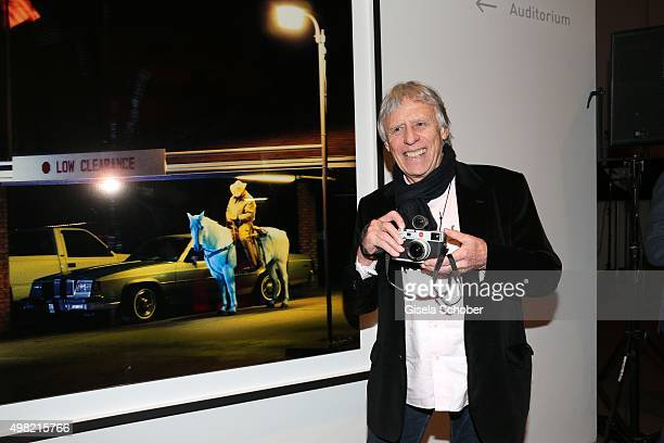 Photographer Dieter Blum in front his artwork during the PIN Party 4 Art at Pinakothek der Moderne on November 21 2015 in Munich Germany
