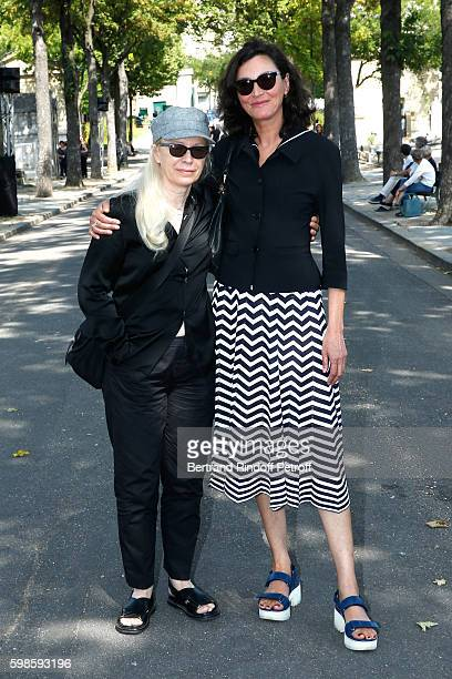 Photographer Dominique Issermann and her model Anne Rohart attend the Designer Sonia Rykiel's Funerals at Cimetiere du Montparnasse on September 1...