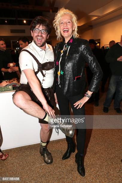 Photographer Ellen von Unwerth and a guest in traditional clothes during the opening night of Ellen von Unwerth's photo exhibition at TASCHEN Gallery...