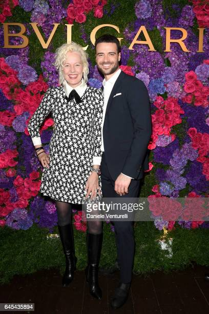 Photographer Ellen von Unwerth and actor Giulio Berruti attend Bulgari's PreOscar Dinner at Chateau Marmont on February 25 2017 in Hollywood United...