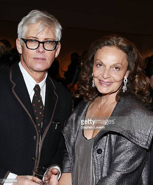 Photographer Eric Boman and designer Diane Von Furstenberg attend the Blogmode Addressing Fashion reception at The Metropolitan Museum of Art on...