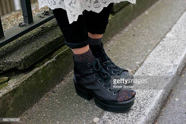 Photographer Eva Al Desnudo wears Vagabond shoes on day 1 of London Collections Men on June 15 2014 in London England