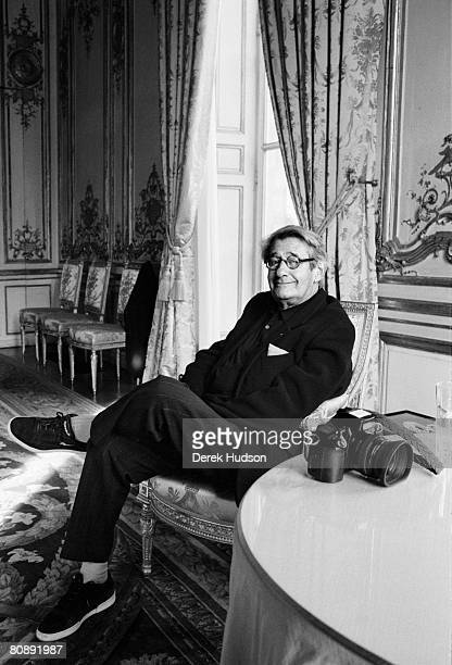 Photographer Helmut Newton poses for a portrait shoot at Cannes Film Festival on May 20 2002 in Cannes France