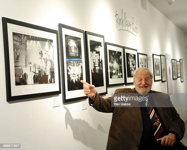 Photographer Henry Grossman attends The Beatles 50 Year Commemorative Anniversary photo exhibit at Rock Paper Photo NYC Pop Up Gallery on February 4...