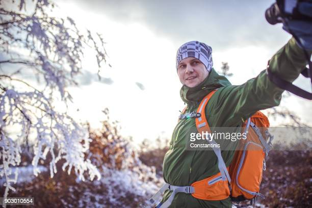 Photographer hiker in nature