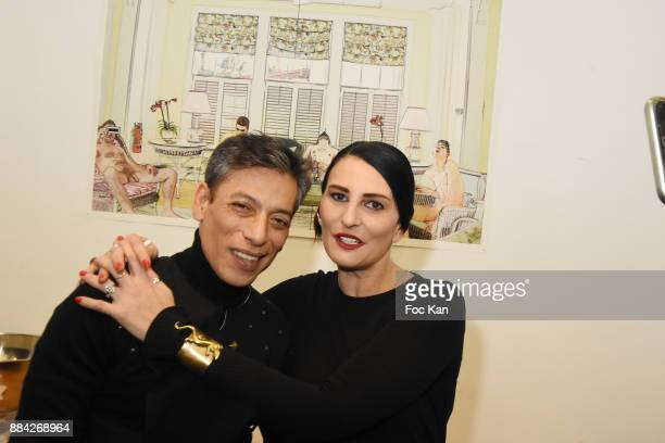 Photographer /illustrator Lenedy Angotand Sylvie Ortega Munos attend Lenedy Angot Calendar 2018 launch at Galerie Fabrice Hybert on December 1 2017...