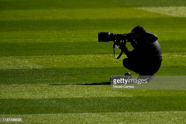 Photographer is pictured during Juventus FC training on the eve of the UEFA Champions League football match between Juventus FC and Ajax Amsterdam.