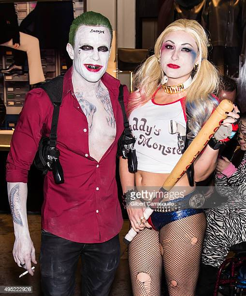 Photographer Jamie McCarthy and guest arrive at Heidi Klum Halloween Party at LAVO on October 31 2015 in New York City