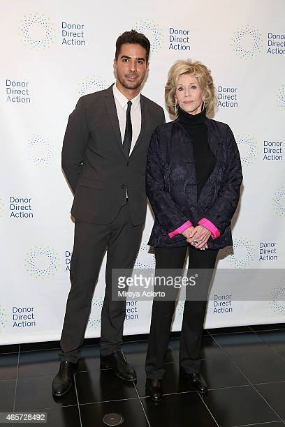 Photographer Javier Gomez and actress Jane Fonda attend the Donor Direct Action launch party at Ford Foundation on March 9 2015 in New York City