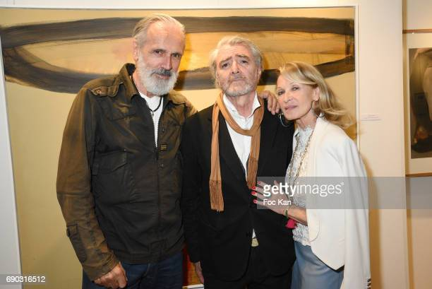 Photographer Jean Marie Marion painter Ruben Alterioand PR Ruth Obadia attend Ruben Alterio Paintings Exhibition Preview at Mairie du 1er...