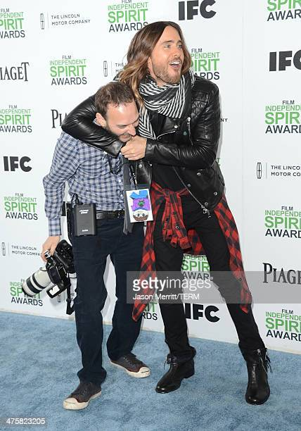 Photographer Jeff Vespa and Jared Leto attend the 2014 Film Independent Spirit Awards at Santa Monica Beach on March 1 2014 in Santa Monica California