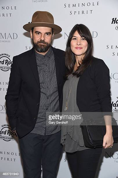 Photographer Jeffrey Shagawat and actress Mizuo Peck attend the Seminole Spirit Art Collection Unveiling at Stephen Weiss Studio on February 17 2015...