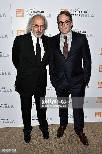 Photographer Jerry Schatzberg and actor Matthew Broderick pose backstage at the 43rd Chaplin Award Gala on April 25 2016 in New York City