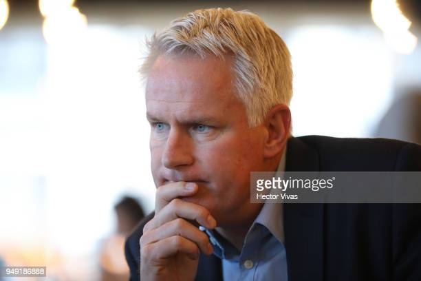 Photographer John Moore listen during the launch event of Undocumented book at WeWork Varsovia Building on April 19 2018 in Mexico City Mexico