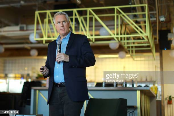 Photographer John Moore speaks during the launch event of Undocumented book at WeWork Varsovia Building on April 19 2018 in Mexico City Mexico
