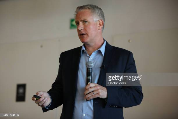 Photographer John Moore talks during the launch event of Undocumented book at WeWork Varsovia Building on April 19 2018 in Mexico City Mexico