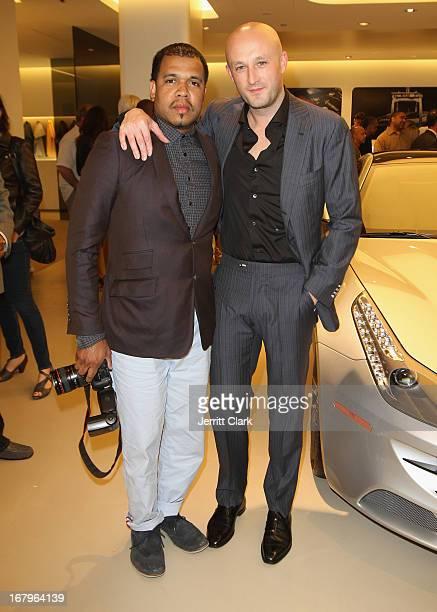 Photographer Johnny Nunez and Musician Fabrizio Sotti attend Fabrizio Sotti's Right Now Album Release Party at Ferrari Corporate Showroom on May 2...