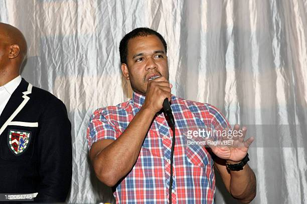 Photographer Johnny Nunez speaks at the BET Music Matters Press Play event Powered by Monster at TWELVE Atlantic Station on September 27 2013 in...
