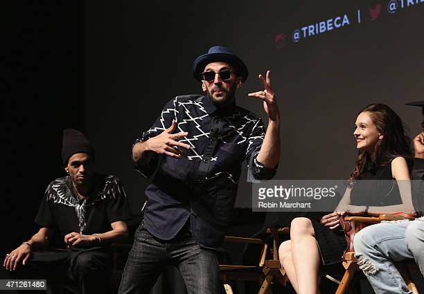 Photographer JR attends Tribeca Talks After The MovieLes Bosquets during the 2015 Tribeca Film Festival at SVA Theater on April 26 2015 in New York...