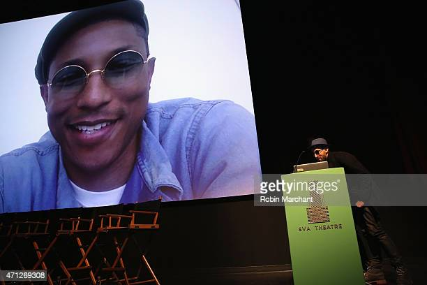 Photographer JR skypes with Pharrell Williams at Tribeca Talks After The MovieLes Bosquets during the 2015 Tribeca Film Festival at SVA Theater on...