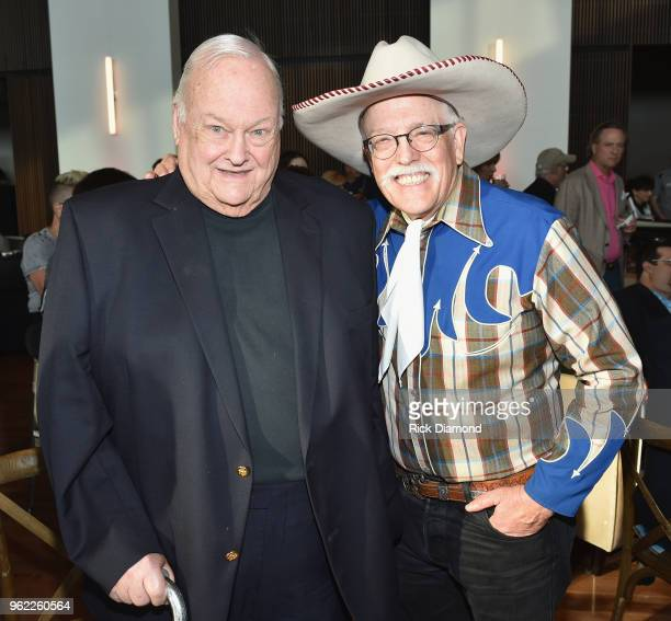 Photographer Leonard Kamsler and musician Fred LaBour attend the CMHOF Outlaws and Armadillos VIP Opening Reception on May 24 2018 in Nashville...