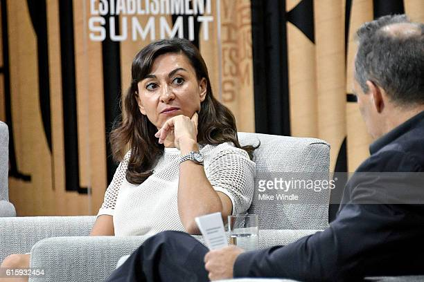 Photographer Lynsey Addario speaks onstage during 'A Lens on the World's Crises' at the Vanity Fair New Establishment Summit at Yerba Buena Center...