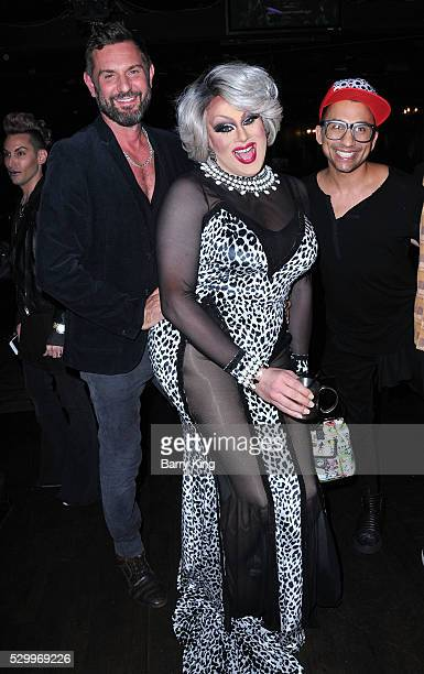 Photographer Magnus Hastings Nina West and Roy Haylock aka Bianca Del Rio attend 'Why Drag' book launch at The Abbey on May 9 2016 in West Hollywood...