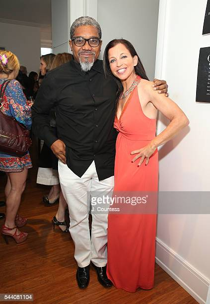 Photographer Marc Baptiste and Wendy Diamond pose for a photo at the 'Other Color' By Marc Baptiste Opening at the apART Private Gallery on June 30...