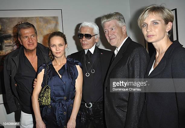 Photographer Mario Testino Actress Vanessa Paradis Designer Karl lagerfeld Director David Lynch and Melita Toscan du Plantier attend Karl Lagerfeld...