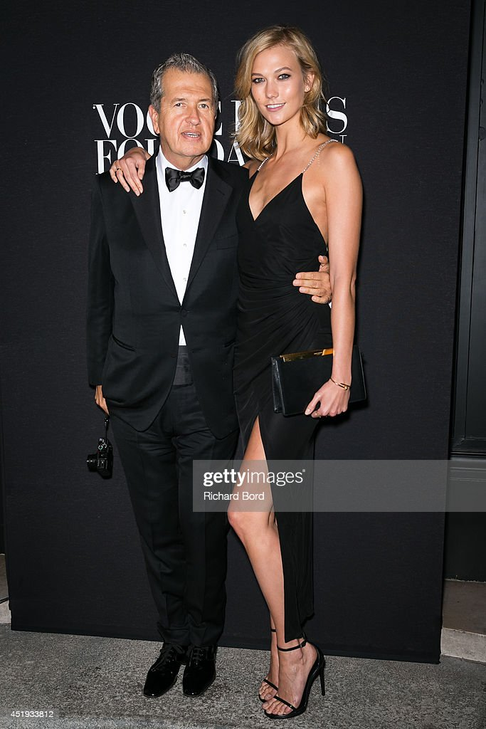 Photographer Mario Testino and model Karlie Kloss attend the Vogue Foundation Gala as part of Paris Fashion Week at Palais Galliera on July 9, 2014 in Paris, France.
