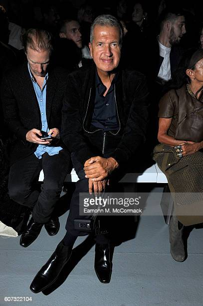 Photographer Mario Testino attends the Gareth Pugh show during London Fashion Week Spring/Summer collections 2017 on September 17 2016 in London...