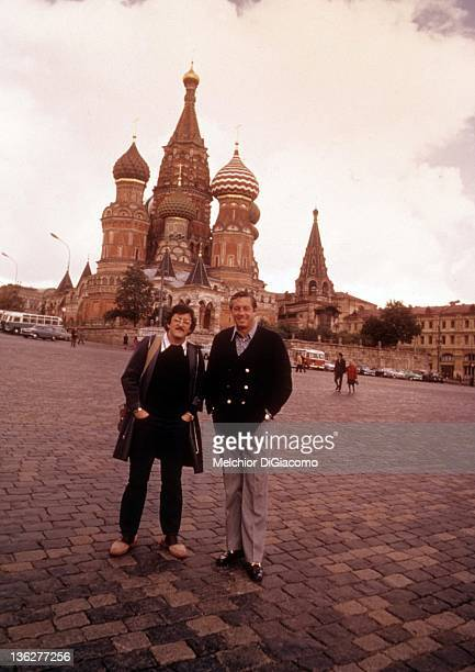 Photographer Melchior DiGiacomo and former hockey player Jean Beliveau pose in front of the Kremlin during the 1972 Summit Series between Canada and...