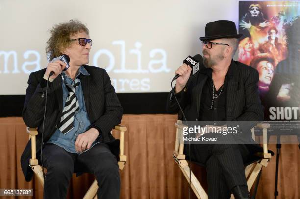Photographer Mick Rock and musician David A Stewart speak onstage at the screening for SHOT The Psycho Spiritual Mantra of Rock at The Grove...