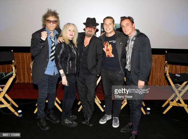 Photographer Mick Rock Director Penelope Spheeris musician Dave Stewart artist Shepard Fairey and director Barnaby Clay attend 'Shot The Psycho...
