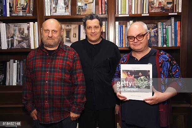 Photographer Nick Waplington designer Isaac Mizrahi and event moderator Mickey Boardman attend Isaac Mizrahi Pictures New York City 19892003 book...