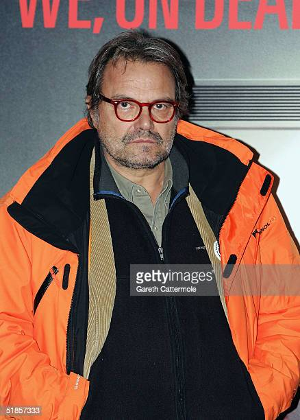"""Photographer Oliviero Toscani pose's at his private view and news confrence for the exhibition """"We, On Death Row"""" at The Boiler House, Brick Lane on..."""