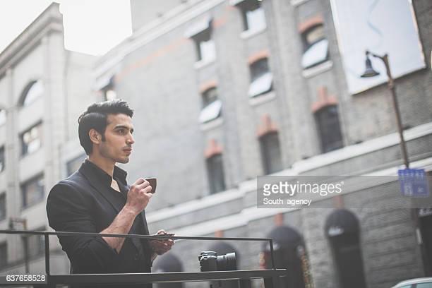 Photographer on coffee break