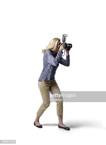 Photographer on white background